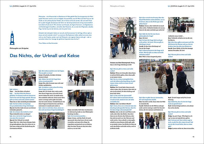 Redesign, Magazingestaltung, Journal, fiph - Forschungsinstitut für Philosophie Hannover, 2016